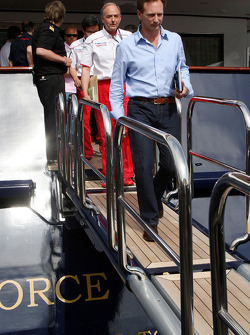 Christian Horner, Red Bull Racing, Sporting Director, John Howett, Toyota F1 Team, President TMG leave the FOTA meeting on the boat of Flavio Briatore, Renault F1 Team, Team Chief, Managing Director