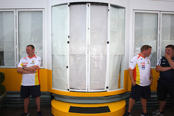 The windows are blocked out as a meeting of team bosses held in the Renault f1 motorhome