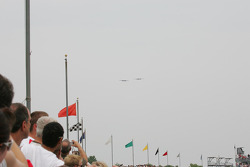 Two B-29's approach the Indianapolis Motor Speedway from the north