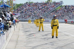 Officials wait for pit stops