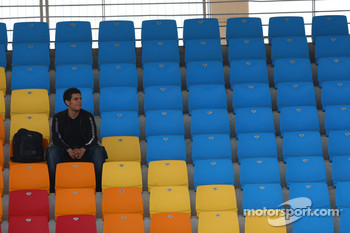 A lone fan in the grandstand