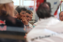 A meeting of Team Principles and drivers is held in the Toyota motorhome, Mark Webber, Red Bull Racing, Fernando Alonso, Renault F1 Team
