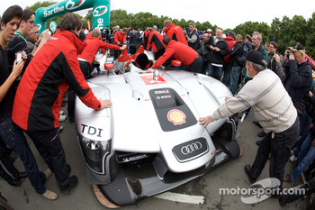 #2 Audi Sport Team Joest Audi R15 TDI arrives at scrutineering