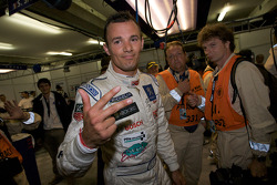 Pole winner Stéphane Sarrazin celebrates his third Le Mans pole in a row