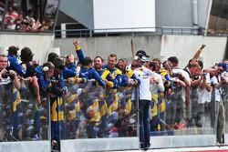 The Snoras Spyker Squadron celebrates
