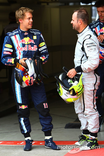 Pole winner Sebastian Vettel, Red Bull Racing, second place Rubens Barrichello, Brawn GP