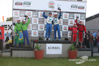 DP podium: class and overall winners Scott Pruett and Memo Rojas, second place Nic Jonsson and Ricardo Zonta, third place Jon Fogarty and Alex Gurney
