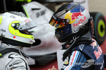 Race winner Sebastian Vettel, Red Bull Racing, third place Rubens Barrichello, Brawn GP