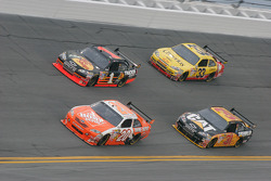 Joey Logano, Joe Gibbs Racing Toyota, Martin Truex Jr., Earnhardt Ganassi Racing Chevrolet, Jeff Burton, Richard Childress Racing Chevrolet and Clint Bowyer, Richard Childress Racing Chevrolet