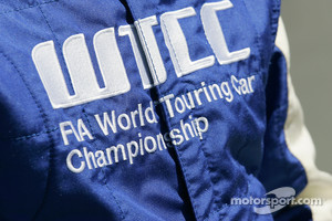 WTCC logo on the racing suit of the safty car driver Bruno Correia