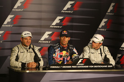FIA press conference: pole winner Mark Webber, Red Bull Racing with second place Rubens Barrichello, Brawn GP,  and third place Jenson Button, Brawn GP