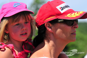 Mika Hakkinen and his son Hugo karting, Erja Hakkinen ex wife of Mika watching
