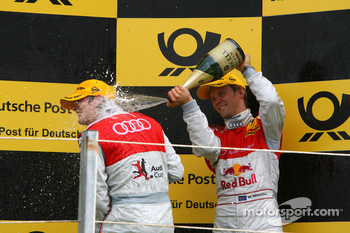 Podium, Mattias Ekström, Audi Sport Team Abt, giving a champaign shower to Oliver Jarvis, Audi Sport Team Phoenix