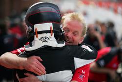 Jonathan Palmer, CEO Motorsport Vision, congratulates race 1 winner Philipp Eng
