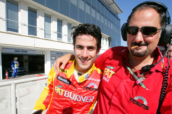 Lucas Di Grassi celebrates his pole position