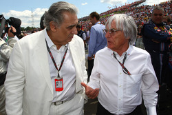 Placido Domingo, tenor and conductor and Bernie Ecclestone, President and CEO of Formula One Management