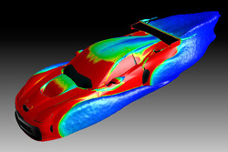 This CFD study visualizes surface vortices and the resulting turbulence as the GT2 Corvette C6.R moves through the air: airflow around the wheel openings and the wing is highly turbulent as indicated by the blue wakes, while the airflow over the roof is r