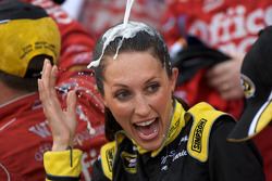 Victory lane: the lovely Miss Sprint gets a champagne shower