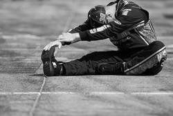 Stewart-Haas Racing Chevrolet crew member prepares for the race