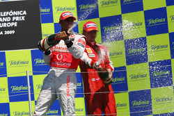 Podium: champagne for second place Lewis Hamilton, McLaren Mercedes, third place Kimi Raikkonen, Scuderia Ferrari