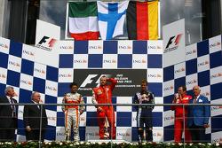 l-r, 2nd, Giancarlo Fisichella, Force India F1 Team, 1st, Kimi Raikkonen, Scuderia Ferrari, 3rd, Sebastian Vettel, Red Bull Racing and Stefano Domenicali, Scuderia Ferrari, Sporting Director