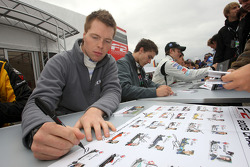 Ollie Hancock during the F2 driver autograph session