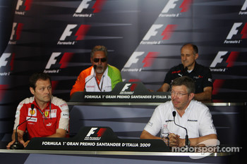 FIA press conference: Aldo Costa, Scuderia Ferrari, Vijay Mallya Force India F1 Team Owner, Franz Tost, Scuderia Toro Rosso, Team Principal, Ross Brawn, Brawn GP