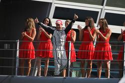 Podium: race winner Rubens Barrichello, Brawn GP