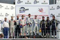LMGT1 podium: class winners Ryan Sharp and Peter Kox, second place Roland Berville, Sébastien Dumez and Laurent Groppi, third place Julien Jousse, Patrice Goueslard and Yann Clairay