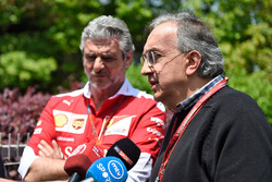 Sergio Marchionne, Ferrari President and CEO of Fiat Chrysler Automobiles and Maurizio Arrivabene, Ferrari Team Principal in the press conference
