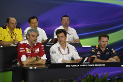 Press conference: Frederic Vasseur, Renault Sport F1 Team Racing Director, Yusuke Hasegawa, Head of Honda F1 Programme, Eric Boullier, McLaren Racing Director, Eric Boullier, McLaren Racing Director, Maurizio Arrivabene, Ferrari Team Principal, Toto Wolff,
