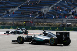 Lewis Hamilton, Mercedes AMG F1 Team W07 is passed by team mate after he spun