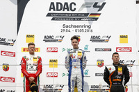 Formula 4 Photos - Podium: second place Mick Schumacher, Prema Powerteam ; Winner Mike David Ortmann, Mücke Motorsport; third place Joseph Mawson, Van Amersfoort Racing
