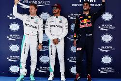 Pole for Lewis Hamilton, Mercedes AMG F1 W07, 2nd for Nico Rosberg, Mercedes AMG F1 W07 and 3rd for Daniel Ricciardo, Red Bull Racing RB14