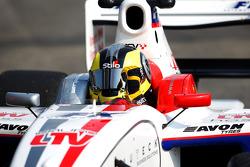 Race winner Andy Soucek celebrates in Parc Ferme