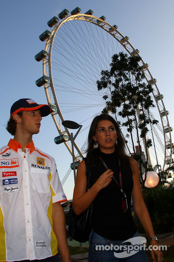 Romain Grosjean, Renault F1 Team and his girlfriend, Marion Jolles