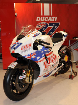 A special paint scheme on the bike of Casey Stoner, Ducati Marlboro Team for the Australian GP