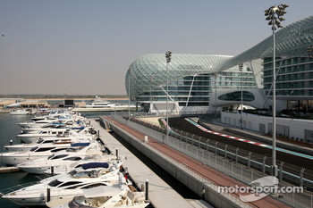 The New Abu Dhabi Yas Marina Circuit with the marina