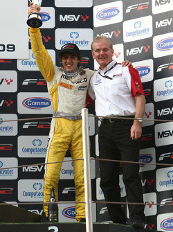 Tristan Vautier with Jonathan Palmer Motorsport Vision Chief Executive on the podium