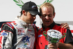 Andy Soucek with his mechanic on the podium