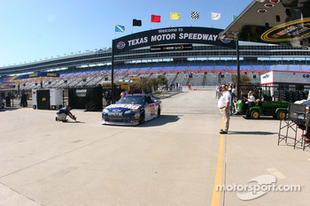 Dale Earnhardt Jr. drives into the garage area at Texas Motor Speedway