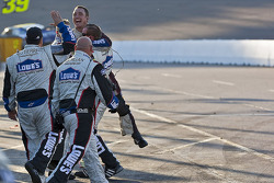 Hendrick Motorsports Chevrolet crew members celebrate Jimmie Johnson's win
