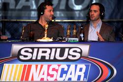 Two-time NASCAR Sprint Cup Series champion Tony Stewart talks with four-time NASCAR Sprint Cup Series champion Jimmie Johnson at The Stewies on SIRIUS NASCAR Radio