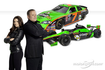 Go Daddy girl Danica Patrick and GoDaddy.com CEO & Founder Bob Parsons with new GoDaddy.com cars