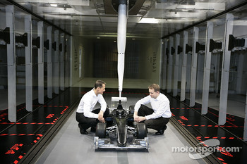 Michael Schumacher with John Owen, Principal Aerodynamicist for Mercedes Grand Prix
