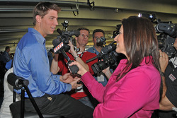 Denny Hamlin being interviewed with SPEED's Wendy Venturini
