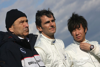 Peter Sauber, Team Principal, Pedro de la Rosa, BMW Sauber F1 Team and Kamui Kobayashi, BMW Sauber F1 Team