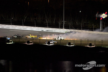 Ricky Carmichael, Ron Hornaday, Donny Lia and Aric Almirola crash