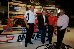 Champion's breakfast: 2010 Daytona 500 winner Jamie McMurray with team owners Chip Ganassi and Felix Sabates, and crew chief Kevin Manion
