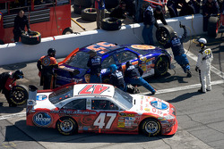 Pit stop for Marcos Ambrose, JTG Daugherty Racing Toyota and Michael McDowell, Prism Motorsports Toyota